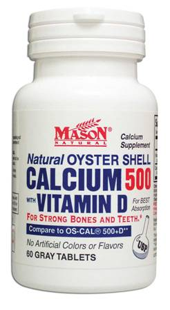 Image 0 of Calcium Oyster Shell Calcium 500 mg With Vitamin D Gray Tablets 60