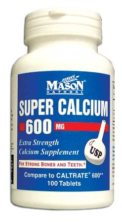 Image 0 of Super Calcium 600 mg Extra Strength Calcium Supplement Tablets 100