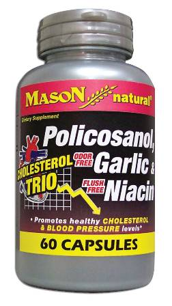 Image 0 of Cholesterol Trio - Policosanol Garlic & Niacin Dietary Supplement Capsules 60