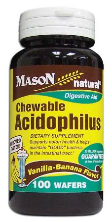 Acidophilus With Vanilla-Banana Flavor Dietary Supplement Chewable Wafers 100