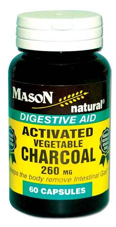 Image 0 of Activated Vegetable Charcoal 260 mg Digestive Aid Capsules 60