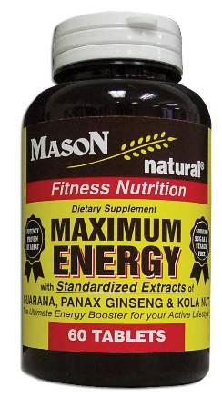 Image 0 of Maximum Energy With Guarana Panax Ginseng & Kolanut Fitness Nutrition Tablets 6