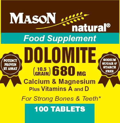 Image 0 of Dolomite 680mg Calcium & Magnesium Plus Vitamins A & D Tablets 100(Discontinued)