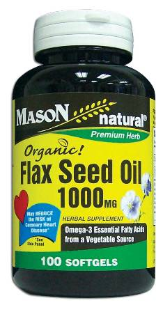 Image 0 of Flax Seed Oil 1000mg Organic Herbal Supplement Softgels 100