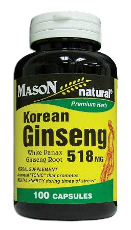 Image 0 of Ginseng 518 mg Korean White Panax Ginseng Root Herbal Supplement Capsules 100