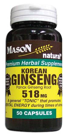 Image 0 of Ginseng 518 mg Korean White Panax Ginseng Root Herbal Supplement Capsules 50