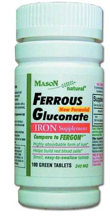 Image 0 of Ferrous Gluconate 240mg Iron Supplement Compare To Fergon Tablets 100