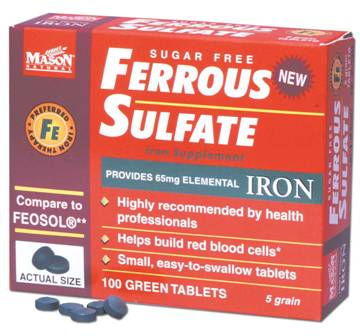 Image 0 of Ferrous Sulfate Sugar Free 5 Grain Iron Supplement Tablets 100