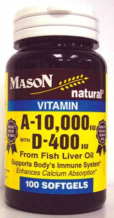 Image 0 of Mason A-10 000 With D-400 Units Fish Liver Oil Softgels 100ct.