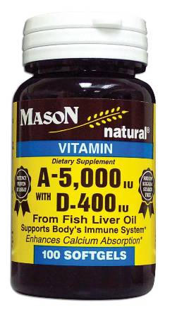 Image 0 of A-5000 Units With D-400 Units From Fish Liver Oil Dietary Supplement Softgels 10
