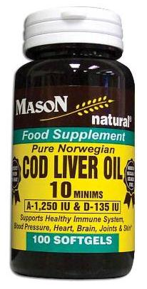 Image 0 of Cod Liver Oil 10 Minims Pure Norwegian Food Supplement Softgels 100