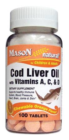 Image 0 of Cod Liver Oil With Vitamin A C & D Orange Flavor Chewable Tablets 100