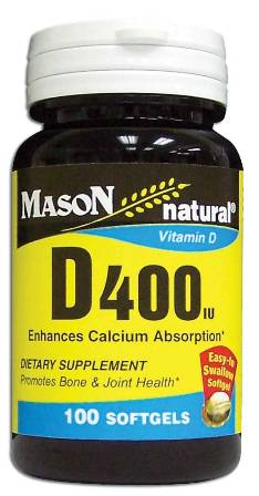 Image 0 of Vitamin D 400 Units Enhances Calcium Absorption Dietary Supplement Softgels 100