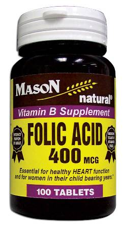 Image 0 of Folic Acid 400 Mcg Vitamin B Supplement Tablets 100