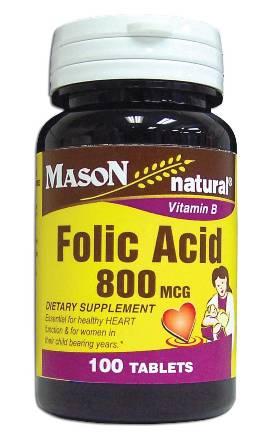 Image 0 of Folic Acid 800 Mcg Vitamin B Dietary Supplement Tablets 100