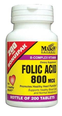 Image 0 of Folic Acid 800 Mcg Bonus Pack Vitamin B-Complex Dietary Supplement Tablets 2