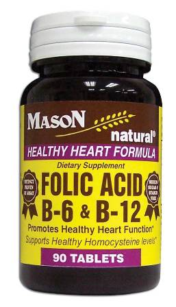 Image 0 of Folic Acid B-6 & B-12 Healthy Heart Formula Dietary Supplement Tablets 90