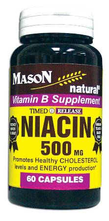 Image 0 of Niacin 500 mg Timed Release Vitamin B Supplement Tablets 60