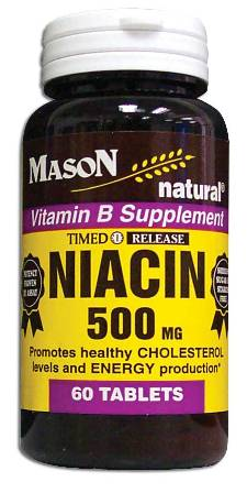 Image 0 of Niacin 500 mg Nicotinic Acid Timed Release Vitamin B Supplement Tablets 60