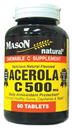 Image 0 of Acerola C 500 mg Vitamin C Supplement Chewable Tablets 60