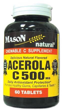Acerola C 500 mg Vitamin C Supplement Chewable Tablets 60