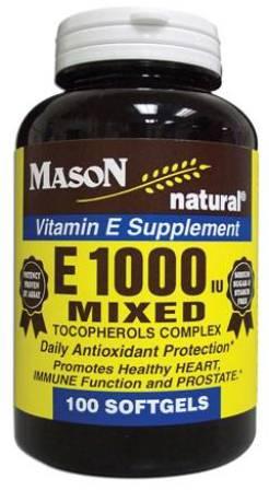 Image 0 of E 1000 Units Mixed Tocopherols Complex Vitamin E Supplement Softgels 100