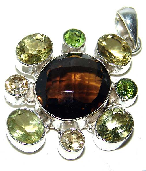 Smoky Topaz Pendant Citrine Peridot Sterling Silver Gemstone Jewelry :  gemstone pendant green peridot classic treasures