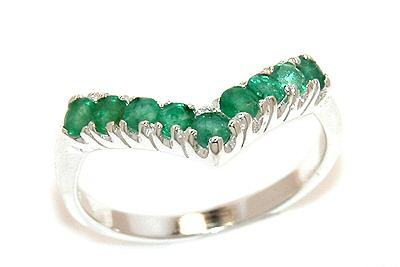 Genuine emerald ring gemstone silver jewelry size 6
