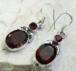Faceted garnet earrings 925 gemstone sterling silver jewelry