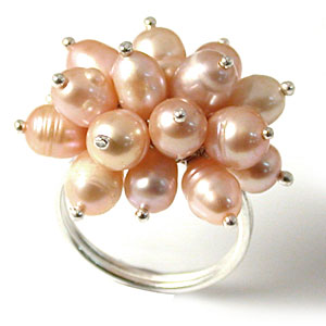 Freshwater pearl ring size 8 silver jewelry pearls pink