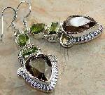Earrings - Earrings - Smoky Topaz earrings Peridot sterling silver gemstone jewelry