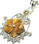 Tiger eye pendant citrine gemstone sterling silver jewelry