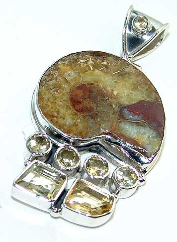 Ammonite fossil pendant natural citrine gemstones jewelry silver