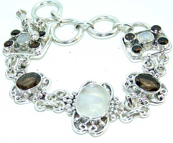Moonstone bracelet smoky topaz gemstone silver jewelry
