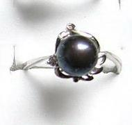 Ring - Pearl Ring - Black pearl ring floral sterling silver jewelry size 8.5
