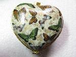 Jewelry box butterfly heart shaped porcelain butterflies