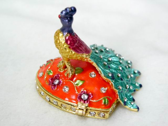Jewelry box peacock bird trinket painted Rhinestones :  jewelry box bejeweled box bird gift box peacock box