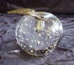 Paperweight Glass Apple Brass Leaf :  tabletop decor apple paperweight clear glass apple bubbled glass apple