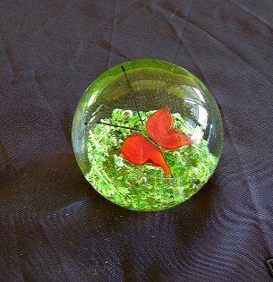 Paperweight Glass Orange Butterfly :  office decor gift paperweight red butterfly orange butterfly