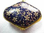 Jewelry Box Painted Porcelain Navy Blue Gold Floral