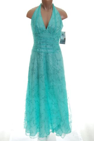 Blondie Nites Aqua Blue Dress 11 Evening Gown new Bernell