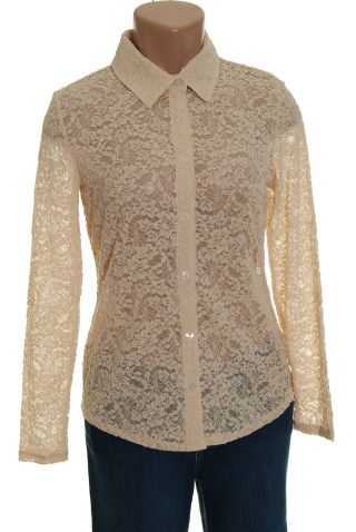 Liz Claiborne Ivory Lace Shirt Top Blouse M Petite new long sleeves