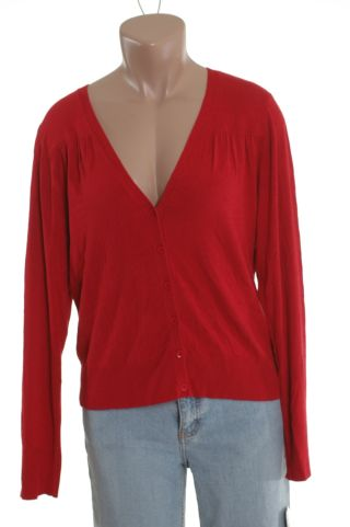 Rafaella Red Cardigan Sweater Shirt Top P Petite NWT new :  button front raffaela petite apparel petite