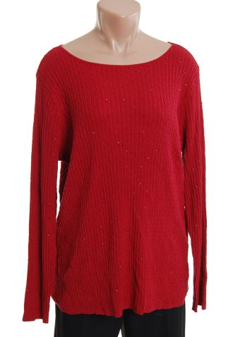 Charter Club Burgundy Red Silk Sweater 1X Plus Size Top new NWT :  new sequin burgundy silk cotton
