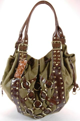 Bags - Bag Purse - Mae and J Handbag Purse Leather Hobo Bucket Olive nwt