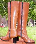 Amalfi Leather Tall Boots 6 M Tan Brown Puglia Rangoni :  woman tan brown heels shoes