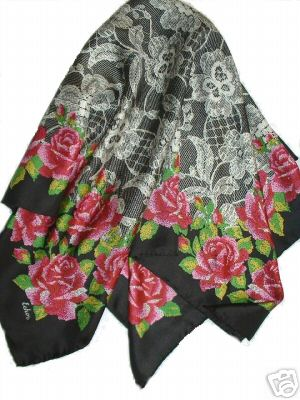 Echo Silk Scarf Hand Rolled Pink Roses Lace Like New :  echo echo scarves scarves scarf
