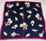 Vintage Silk Scarf Mushrooms Radishes Vegetables Square