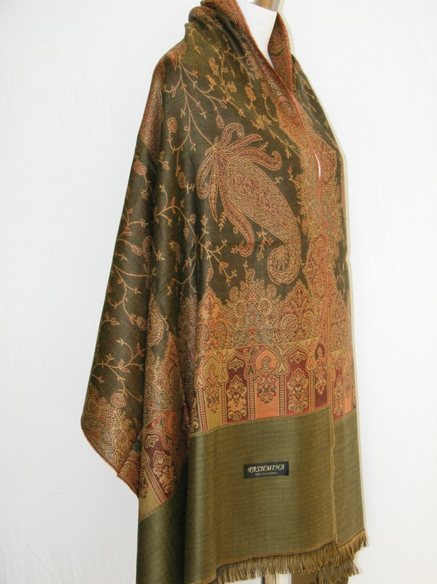 Pashmina Cashmere Shawl Paisley Brown Gold Olive NWT