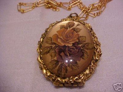 Max Factor Porcelain Rose Perfume Locket Vintage :  costume jewelry perfume locket max factor classic treasures